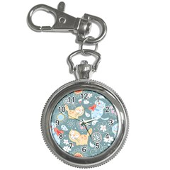 Cute Cat Background Pattern Key Chain Watches