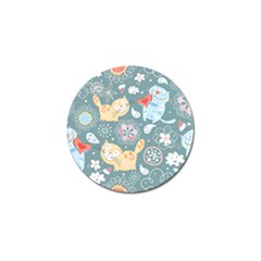 Cute Cat Background Pattern Golf Ball Marker