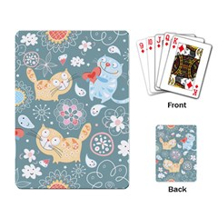 Cute Cat Background Pattern Playing Card