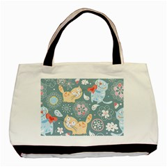 Cute Cat Background Pattern Basic Tote Bag