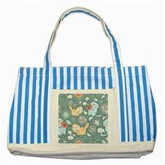 Cute Cat Background Pattern Striped Blue Tote Bag