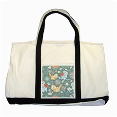 Cute Cat Background Pattern Two Tone Tote Bag