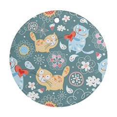 Cute Cat Background Pattern Round Ornament (two Sides)