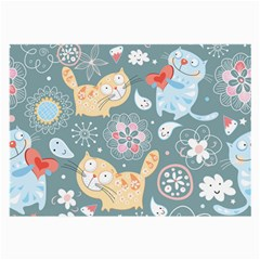 Cute Cat Background Pattern Large Glasses Cloth