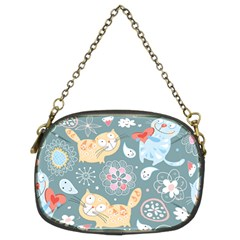Cute Cat Background Pattern Chain Purses (two Sides)