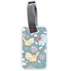 Cute Cat Background Pattern Luggage Tags (one Side)