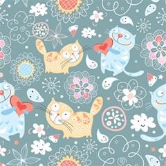 Cute Cat Background Pattern Magic Photo Cubes