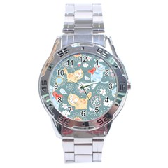 Cute Cat Background Pattern Stainless Steel Analogue Watch