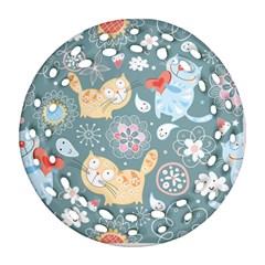 Cute Cat Background Pattern Ornament (round Filigree)