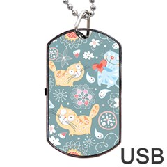 Cute Cat Background Pattern Dog Tag Usb Flash (two Sides)