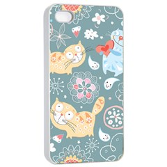 Cute Cat Background Pattern Apple Iphone 4/4s Seamless Case (white)