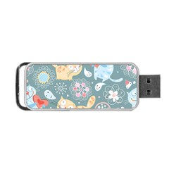Cute Cat Background Pattern Portable Usb Flash (two Sides)