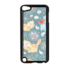 Cute Cat Background Pattern Apple Ipod Touch 5 Case (black)