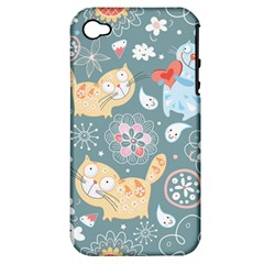 Cute Cat Background Pattern Apple Iphone 4/4s Hardshell Case (pc+silicone)