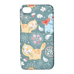 Cute Cat Background Pattern Apple Iphone 4/4s Hardshell Case With Stand