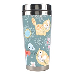 Cute Cat Background Pattern Stainless Steel Travel Tumblers