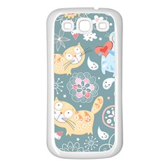Cute Cat Background Pattern Samsung Galaxy S3 Back Case (white)