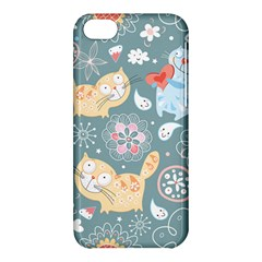 Cute Cat Background Pattern Apple Iphone 5c Hardshell Case