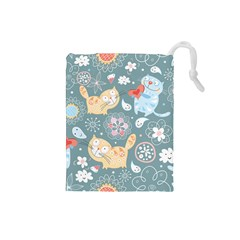 Cute Cat Background Pattern Drawstring Pouches (small)