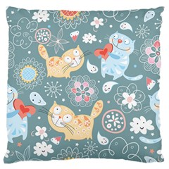 Cute Cat Background Pattern Large Flano Cushion Case (one Side)