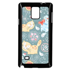 Cute Cat Background Pattern Samsung Galaxy Note 4 Case (black)