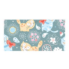 Cute Cat Background Pattern Satin Wrap