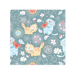 Cute Cat Background Pattern Small Satin Scarf (square)