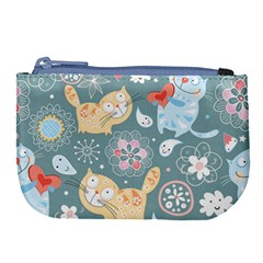 Cute Cat Background Pattern Large Coin Purse