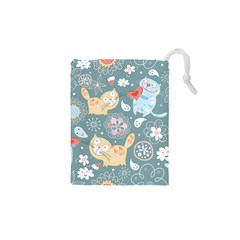 Cute Cat Background Pattern Drawstring Pouches (xs)