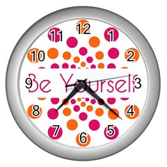 Be Yourself Pink Orange Dots Circular Wall Clocks (silver)