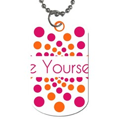 Be Yourself Pink Orange Dots Circular Dog Tag (two Sides)