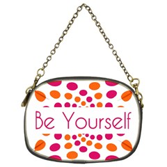Be Yourself Pink Orange Dots Circular Chain Purses (two Sides)