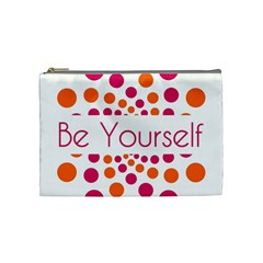 Be Yourself Pink Orange Dots Circular Cosmetic Bag (medium)