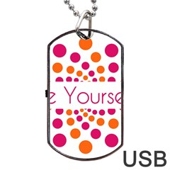 Be Yourself Pink Orange Dots Circular Dog Tag Usb Flash (one Side)