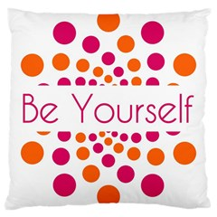 Be Yourself Pink Orange Dots Circular Large Cushion Case (two Sides)