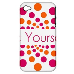 Be Yourself Pink Orange Dots Circular Apple Iphone 4/4s Hardshell Case (pc+silicone)
