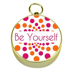 Be Yourself Pink Orange Dots Circular Gold Compasses