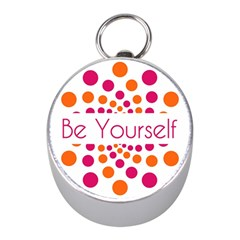 Be Yourself Pink Orange Dots Circular Mini Silver Compasses