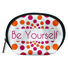 Be Yourself Pink Orange Dots Circular Accessory Pouches (medium)