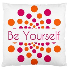 Be Yourself Pink Orange Dots Circular Standard Flano Cushion Case (one Side)