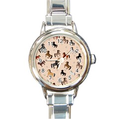 Horses For Courses Pattern Round Italian Charm Watch