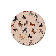 Horses For Courses Pattern Rubber Coaster (round)