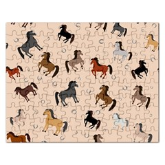Horses For Courses Pattern Rectangular Jigsaw Puzzl