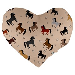 Horses For Courses Pattern Large 19  Premium Heart Shape Cushions
