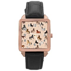 Horses For Courses Pattern Rose Gold Leather Watch