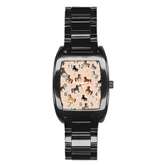 Horses For Courses Pattern Stainless Steel Barrel Watch