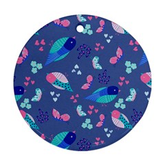 Birds And Butterflies Ornament (round)