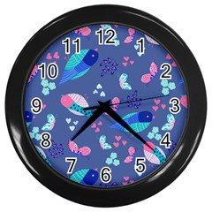 Birds And Butterflies Wall Clocks (black)