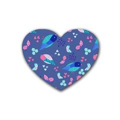 Birds And Butterflies Rubber Coaster (heart)