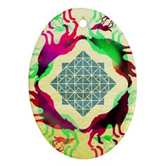 Several Wolves Album Oval Ornament (two Sides)